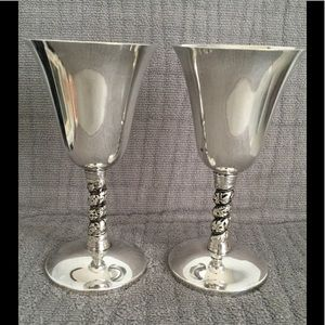 Pair Silverplated Wine Goblets/Glasses from Spain